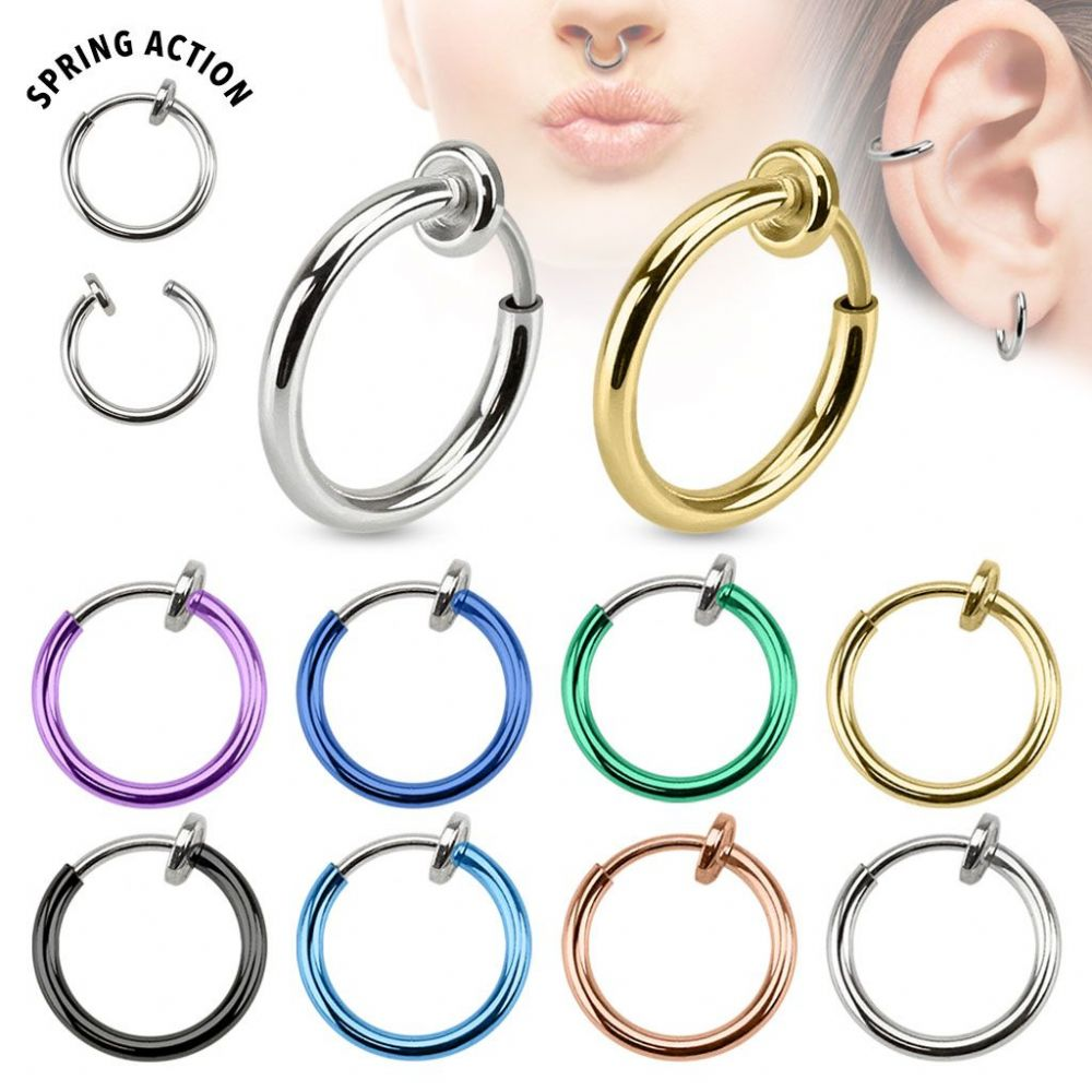 Spring Action Titanium Plated Non-Piercing / Fake Piercing Hoop
